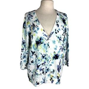Christopher & Banks L Floral Cardigan Sweater Blue